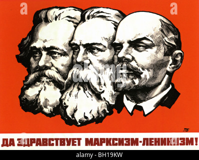 1980 Soviet Union poster with from left Marx, Engels and Lenin. The wording says 'Long Live Marxism-Leninism ! ' - Stock Photo