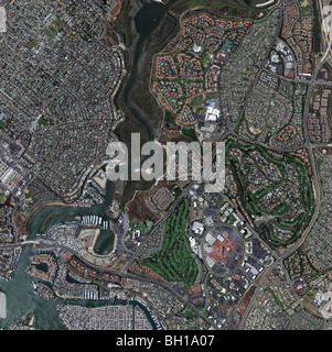 aerial map view above Newport Beach Newport Bay Santa Ana river Orange county California - Stock Photo