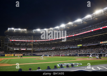 A night play-off baseball game at the new Yankee Stadium in New York City.