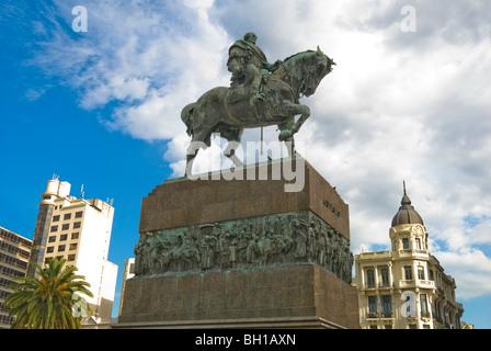 Statue of General Jose Artigas on horseback in Independence Square, Montevideo, Uruguay - Stock Photo