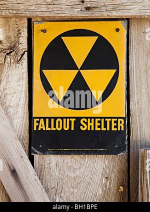 Fallout shelter sign Texas USA - Stock Photo