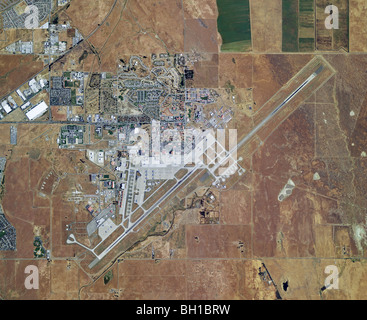 aerial map view above Travis Air Force Base airport Fairfield Solano county California - Stock Photo