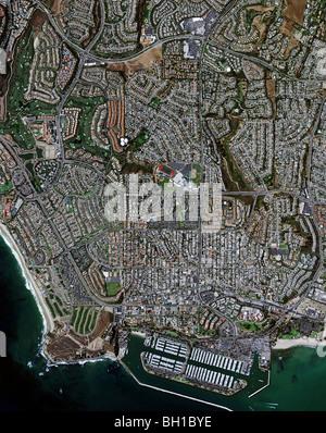 aerial map view above Dana Point Orange County California - Stock Photo