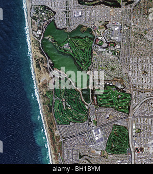 aerial map view above golf courses San Francisco Pacific Coast - Stock Photo