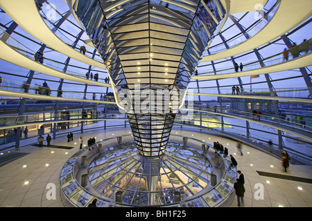 German parliament, under the glass dome of the Reichstag building by Sir Norman Foster, interior, Berlin, Germany - Stock Photo