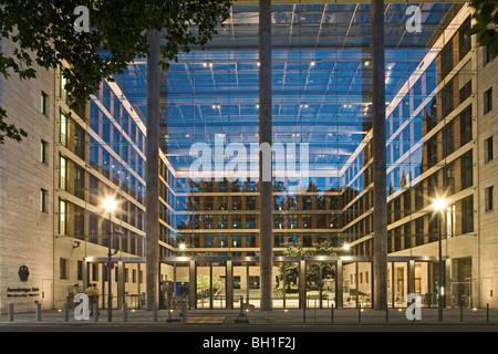 View at the glass front of the Ministry of Foreign Affairs in the evening, Berlin, Germany, Europe - Stock Photo