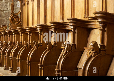Stalls in the Église abbatiale Saint Pierre, Abbey church SaintPaul, The Way of St. James, Roads to Santiago, Chemins - Stock Photo