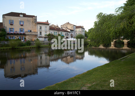 The river Dronne in the evening, The Way of St. James, Roads to Santiago, Chemins de Saint-Jacques, Via Lemovicensis, - Stock Photo