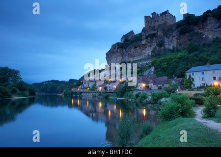 View of Beynac along the Dordogne river in the evening, The Way of Saint James, Road to Santiago, Chemins de Saint - Stock Photo