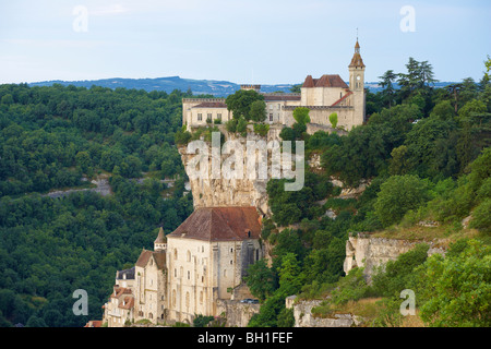 View of Rocamadour, The Way of St. James, Roads to Santiago, Chemins de Saint-Jacques, Via Podiensis, Dept. Lot, - Stock Photo