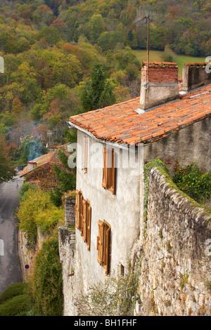 House in St Bertrand de Comminges, Autumn, The Way of St. James, Chemins de Saint Jacques, Chemin du Piémont Pyrénéen, - Stock Photo