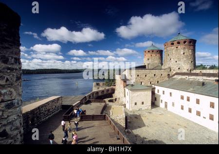 The Olavinlinna castle at Savonlinna lake, Karelia, Finland, Europe - Stock Photo
