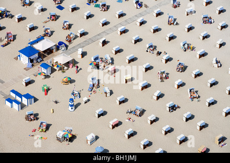 High angle view at beach with beach chairs in the sunlight, Travemuende, Schleswig Holstein, Germany, Europe - Stock Photo