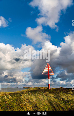 Sea Mark, Ellenbogen, List, Sylt Island, North Frisian Islands, Schleswig-Holstein, Germany - Stock Photo