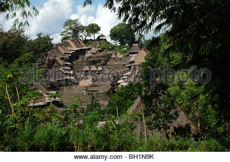 Bena a traditional Ngada village of wooden houses with steep thatched roofs and smaller huts Bajawa Flores NTT Indonesia - Stock Photo