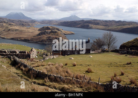 Loch Inchard with Ben Arkle and Ben Stack in the background - Stock Photo