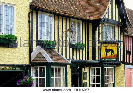 Europe, England, Suffolk, Lavenham, East Anglia, Pub The Greyhound - Stock Photo
