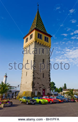 Oldtimer rallye in Lindau in front of the Mang tower, Promenade, Lindau, Swabia, Bavaria, Germany - Stock Photo