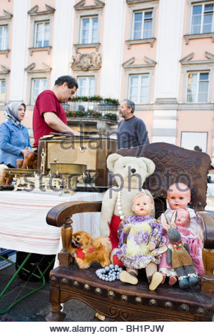 Antique market on the main square in Linz every Saturday, Linz, Upper Ausrtia, Austria - Stock Photo
