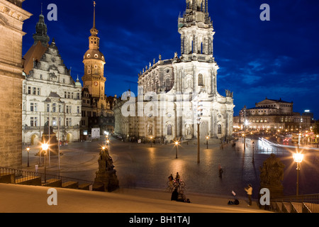 Schlossplatz with Dresden Castle, Catholic Court Church and Semperoper in the background, Dresden, Saxony, Germany
