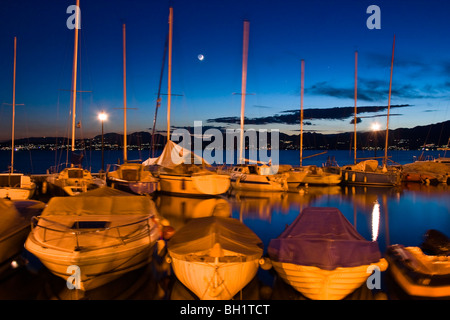 boats in harbour of Lazise, Lake Gardasee, Italy, Europe - Stock Photo