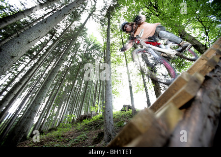 Mountain biker riding over a ramp in a forest, Oberammergau, Bavaria, Germany - Stock Photo