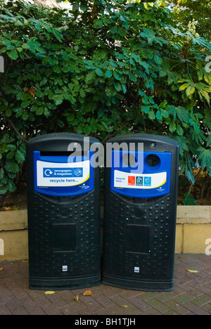 Recycling bins Victoria Embankment Gardens central London England UK - Stock Photo
