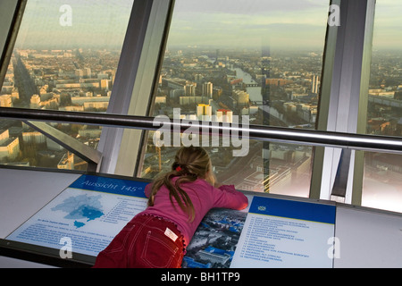 child on viewing platform, Alex TV tower, Alexanderplatz, Berlin, Germany - Stock Photo