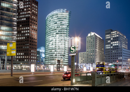 Potsdamer Platz from left to right Renzo Piano Tower, Hans Kollhoff Tower, Sony Center, Bahn Tower, Beisheim Center - Stock Photo