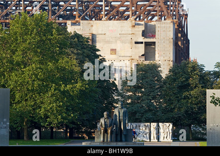 Marx-Engels-Forum, and the remains of the Palast der Republik, Berlin - Stock Photo