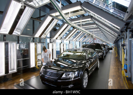 The transparent factory, automobile production plant owned by Volkswagen, modern factory designed to make the production - Stock Photo