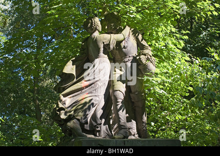 Statue of a couple in Tiergarten, Berlin, Germany - Stock Photo
