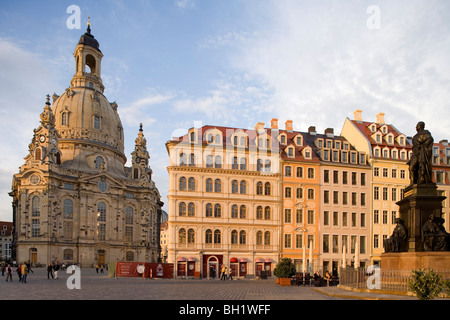 Neumarkt with Dresdner Frauenkirche, Church of Our Lady, Dresden, Saxony, Germany, Europe - Stock Photo
