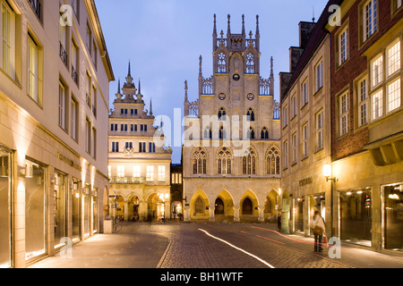 Gabled houses and gothic town hall at the Prinzipal Market in the evening, Muenster, North Rhine-Westphalia, Germany, - Stock Photo