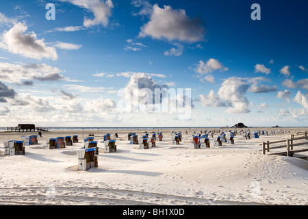 Beach chairs on the beach, St. Peter Ording, Eiderstedt peninsula, Schleswig Holstein, Germany, Europe - Stock Photo