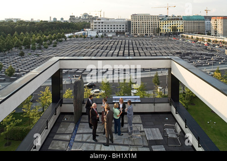 on the roof terrace of Representation of the State of Rheinland Pfalz in Berlin, opposite the Memorial to the Murdered - Stock Photo