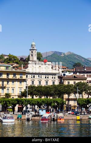 View over Lake Lugano to Luganow with cathedral St. Lorenzo, Lugano, Ticino, Switzerland - Stock Photo