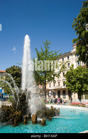 Fountain at Piazza Manzoni, Lugano, Lake Lugano, Ticino, Switzerland - Stock Photo