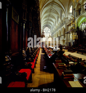 Lincoln Cathedral UK - St Hugh's Choir with carved misericords in the stalls, looking east - Stock Photo