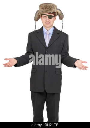 The one-eyed man in a Russian fur hat on white - Stock Photo