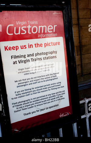 Virgin Trains has started a campaign to inform Virgin Trains' about their rights and duties,when taking pictures - Stock Photo