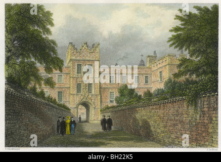 Dated 1842 hand-colored engraving of the entrance gateway Jesus College, Cambridge, England, UK. - Stock Photo