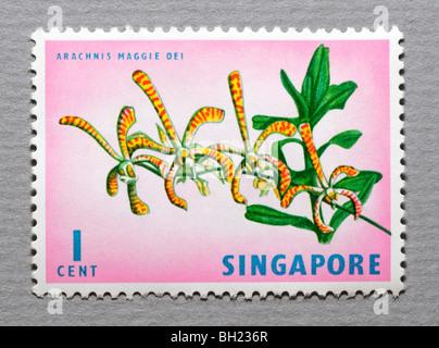 Singapore Postage Stamp. - Stock Photo