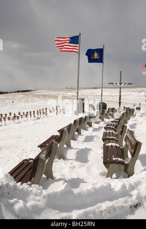 Stock photo of flags flying in the bitter cold winter wind Flight 93 Memorial crash site on 911, Shanksville, PA, - Stock Photo