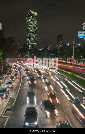 Traffic moves on the Circuito Interior (Inner Loop) during rush hour on November 4, 2009 in Mexico City, Mexico. - Stock Photo