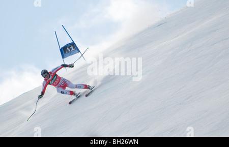 downhill skier, hahnenkamm, kitzbuhel, austria - Stock Photo