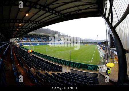 View inside Adams Park Stadium, High Wycombe. Home of Wycombe Wanderers Football Club and London Wasps Rugby Club - Stock Photo