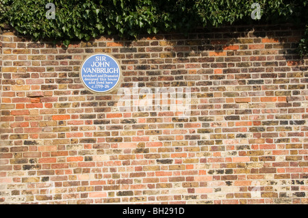 Blue plaque on Vanbrugh Castle, the home of Sir John Vanbrugh in Maze Hill, Greenwich - Stock Photo