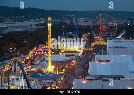 RIDES AND BEER TENTS AT CANNSTATTER VOLKSFEST FOLK FESTIVAL IN STUTTGART, GERMANY - Stock Photo