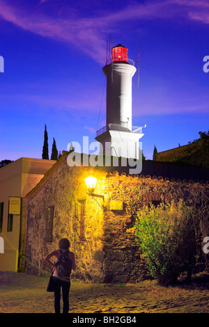 Old Lighthouse of Colonia del Sacramento at twilight. Uruguay - Stock Photo